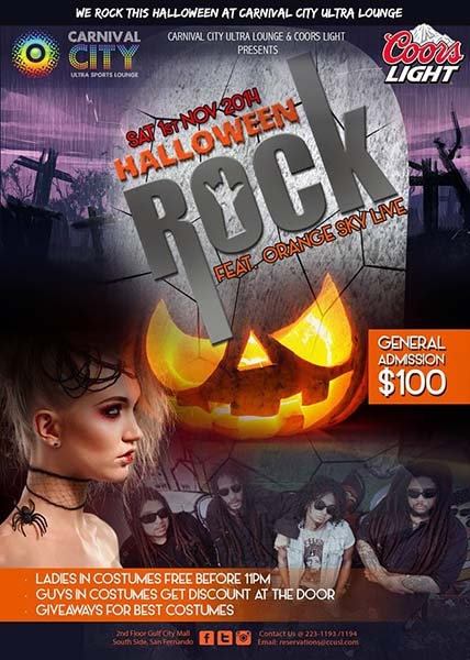 Halloween Rock Featuring Orange Sky