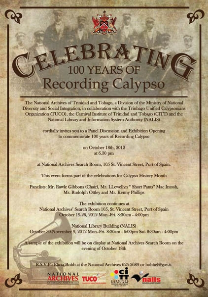 Celebrating 100 years of Recording Calypso Exhibition