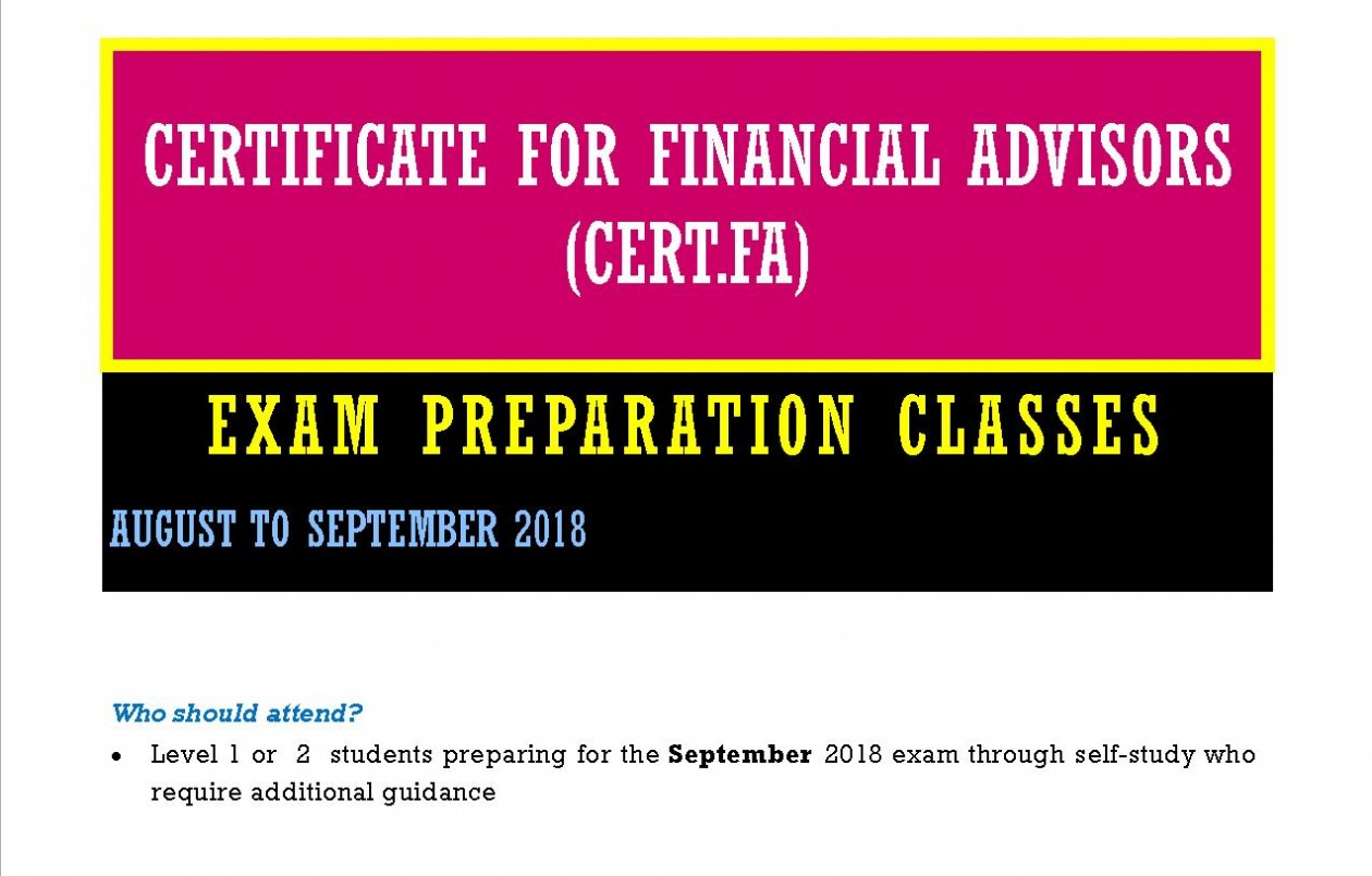 Certificate for Financial Advisors (CertFa)