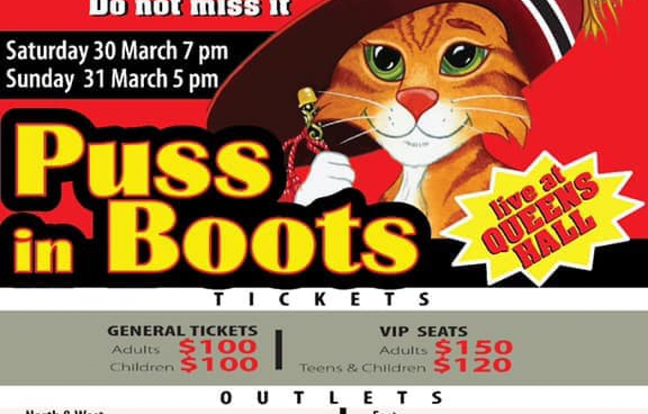 Puss In Boots at Queens Hall: 29-31.3.19
