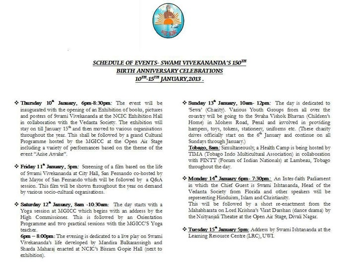 Swami Vivekananda's 150th Birthday Anniversary Celebrations