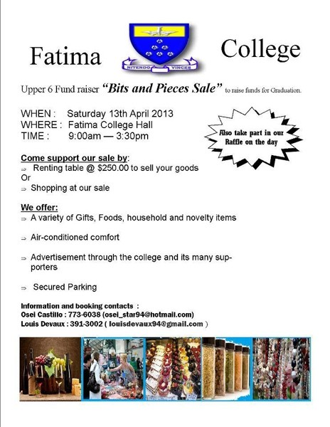 Fatima Bits and Pieces Sale: Upper Sixth Form Fundraiser