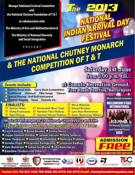 The 2013 National Indian Arrival Day Festival & National Chutney Monarch Competition