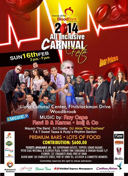 Friends of the Blood Bank All Inclusive Carnival Fete 2014